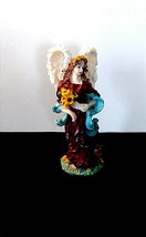 "Vintage Angel Figurine-Brunette-Red Robe-yellow flowers-blue wrap-9"" Tall - $13.25"
