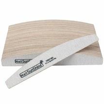 Sandpaper Nail Art Files Grey Wooden Sanding Nail Buffer Curved 50Pcs 100/180 image 1