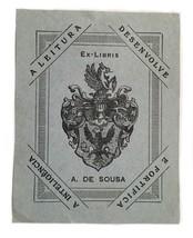 Ex Libris Exlibris Bookplate A. De Sousa A Leitura Desenvolve Blue - $29.69