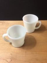 Set of 2 White D-Handle Fire King Mugs image 2