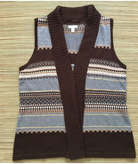 Charter Club Open-Front Sweater Vest • Stripes & Sequins • Brown & Grey ... - $14.80