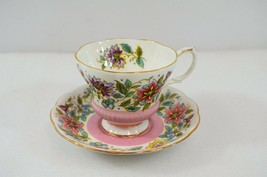Royal Albert Jacobean Pink Teacup & Saucer Vtg Bone China England - $33.68