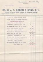 J. G. Green & Sons Ltd Warkworth 1915 Builders Joiners Plumber Receipt R... - $7.55