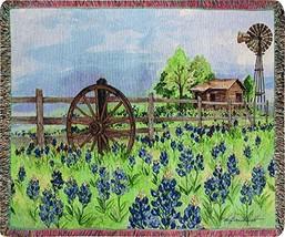 Manual Woodworkers & Weavers Tapestry Throw, Bluebonnet's Beauty, 50 x 60