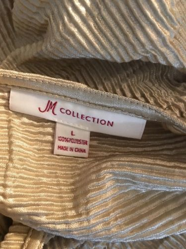 #385-- JM Collection crinkle fabric beige sleveless blouse top, size L