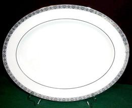 "Gorham Grand Gallery Oval Serving Platter 14"" Platinum Trim New - $58.90"