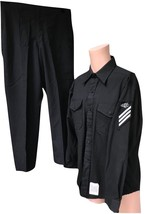 Original Enlisted USN US Navy 1983 Shirt & Pants w Rate Patch Anchor But... - $80.99
