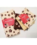 PET FOOD MAT TOWELS SET 4pc Microfiber Placemat Cloths Pawprints Beige B... - $12.99