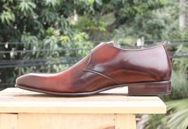 Handmade Men's Brown Monk Strap Dress/Formal Leather Shoes image 6