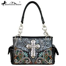 Montana West embroidered floral Spiritual Collection Satchel Handbag w Cross - $61.99