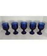 Imperial Glass Cobalt Blue Flower Fair Wine Goblet (s) LOT OF 5 - $39.55