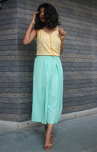 Custom Made Mint Green Pleated Solid Linen Pant - $35.00