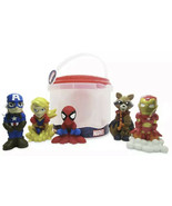 Marvel Avengers Bath Set 5 PVC Figures In Pail w/Sieve Pool Beach Water ... - $21.99