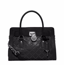 NWT MICHAEL Michael Kors Black Microstud Quilted Leather Hamilton Satche... - $228.00