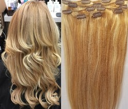"""18"""",20"""",22"""",24"""" 100% Remy Human Highlighted Hair Extensions 7Pcs Clip in #27/613 - $69.29+"""
