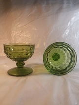 Vintage Indiana Glass Whitehall Olive Colony Cubist Dessert Cups  - $3.00