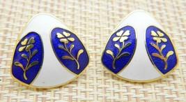 ERM Signed Cloisonne Flower Multi-Color Enamel Gold Tone Vintage Post Earrings - $13.86