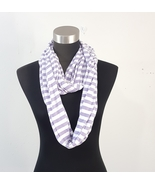 Ladies Lavendar Purple White Striped Infinity Scarf Viscose Blend - $12.00
