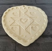 The Pampered Chef 1993 Heart shaded Homespun Cookie Mold Ceramic Earthen... - $8.98