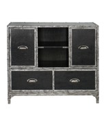WESTERN LIVING DECOR FAUX LEATHER WOOD CONSOLE CABINET RUSTIC FINISH - $847.00