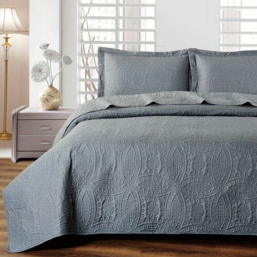 Twin Xl Full Queen Cal King Solid Dark Gray Grey 3 Pc