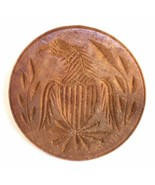 Vintage Carved Wood Primitive Butter Print American Eagle and Shield Design - $181.60