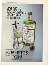 1972 Sir Robert Burnett's White Satin Gin Advertisement - $16.00
