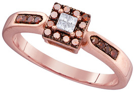 10k Rose Gold Womens Round Red Color Enhanced Diamond Square Cluster Rin... - £186.05 GBP