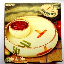 "VNTGE '80's ""HIMARK"" SOMBRERO CHIP/ DIP BOWL, HND DECORATE TERRA COTTA 1... - $34.95"