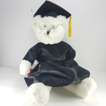 Russ Berrie White Bear Graduation Black Hat Plush Stuffed Diploma Tassel... - $18.80