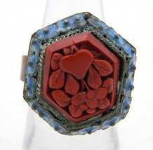 VTG CHINA Marked Blue Enamel Red Cinnabar Ring Size 5.5 Currently - $123.75