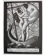 NUDE EX LIBRIS Young Lovers in Old Sailboat Kissing - 1922 Lichtdruck Print - $19.80