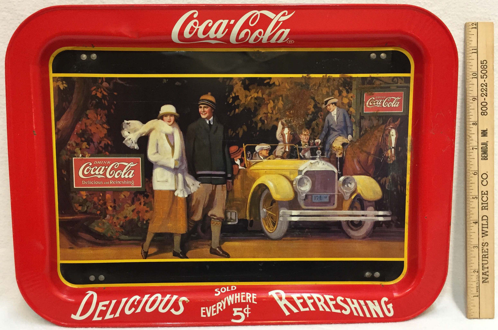 Primary image for Coca Cola Tray Folding Coke 1924 Touring Car & Young Couple 1987 Mfg Legs Serve