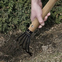 Garden Claw Rake with Ergonomic Wooden Handle  Military Grade Steel  For... - $22.49