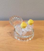 Vintage 50s glass Scallop Shell salt and pepper shaker set