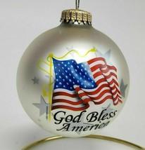 God Bless America USA Flag Glass Christmas Ornament Krebs American Pride - $8.00