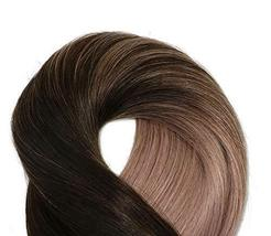 Tape In Hair Extensions Human Hair Balayage Ombre Hair 20pcs/50g Per Set Dark Br image 6