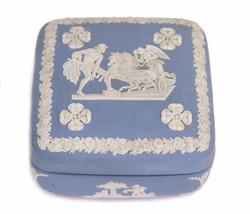 Wedgwood Blue Jasperware Square Ulysses Classical Chariot Race Trinket Box B12 - $16.79