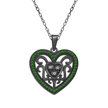 """0.21 Carat Green Emerald 18k Black Gold Plated Heart Pendant With 18"""" Chain - $72.55"""