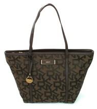 DKNY Shopper Tote Bag Heritage Brown Canvas Logo Monogram Large Handbag - $271.81