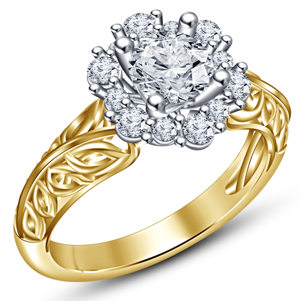 Engagement Anniversary Ring 14k Gold Plated 925 Silver Round Cut White Diamond