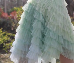 Women Tiered Tulle Skirt Plus Size Knee Length Pink Tulle Skirt Holiday Outfit image 5