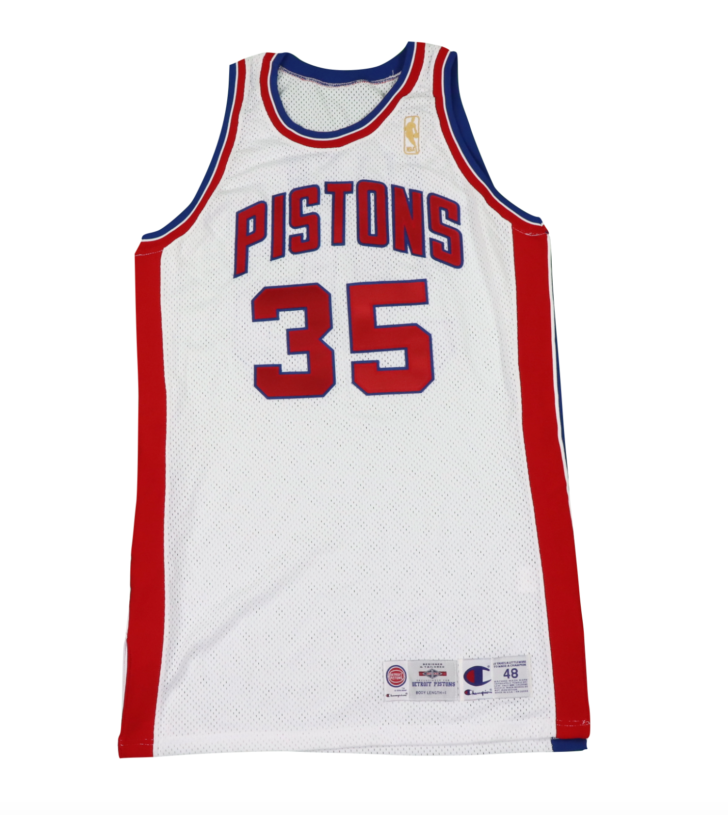 Primary image for Vtg Champion NBA Detroit Pistons Allen #35 Stitched 50th Season Gold Logo Jersey