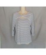 Vince Camuto top tunic  Large  white black stripes keyhole scoop neck 3/... - $12.69
