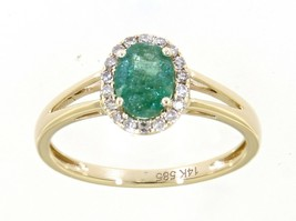 Emerald Gem Birthstone 14K Yellow Gold 0.78 Carat Halo Diamond Oval Ring... - $1,159.00