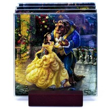 Thomas Kinkade Disney's Beauty and the Beast Prints 4 Pc Fused Glass Coaster Set image 2