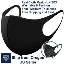 Black Women Men Unisex Face Masks Cloth Cover Fashion Mask Washable Reus... - $3.56