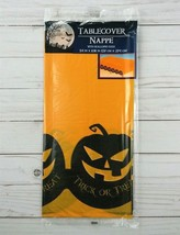 Plastic Tablecloth Tablecover Party 54x108 Halloween Pumpkins - $3.99