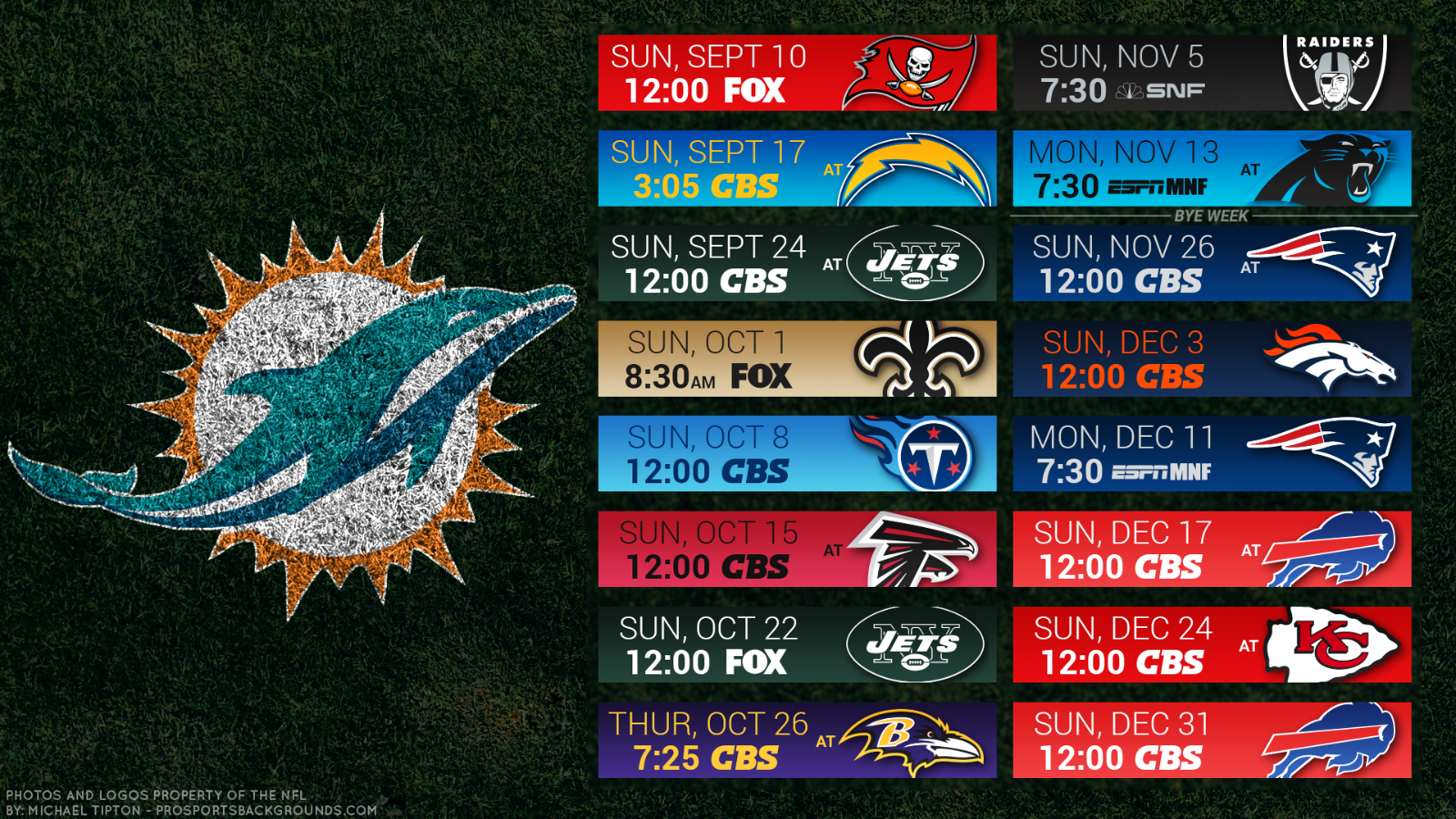Miami Dolphins NFL 2017 Schedule turf Poster 24 X 36 inch  - $18.99
