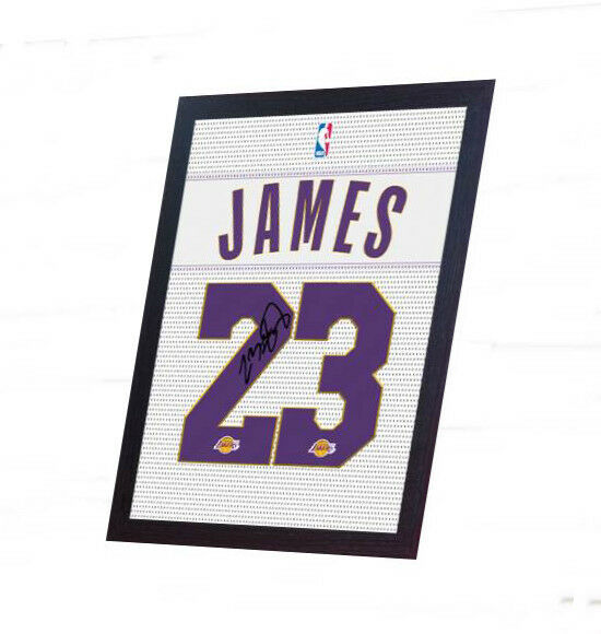 LeBron James NBA Lakers signed autograph printed on 100% COTTON Canvas Framed